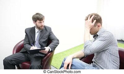 mówiąc, smutny, młody mężczyzna, psychologist.