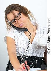 mówiąc, sprytny, kobieta handlowa, telefon