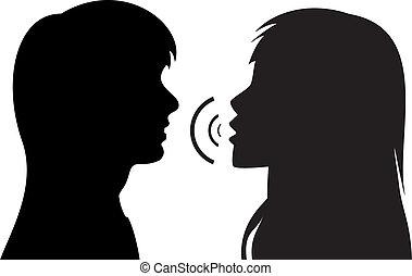 mówiąc, sylwetka, kobiety, dwa, młody