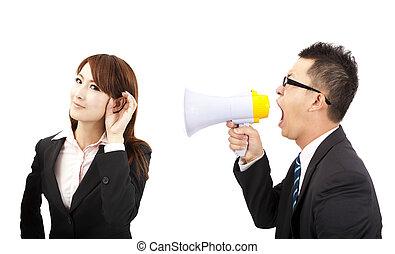 mówiący, i, słuchać, concept., handlowiec, i, kobieta, komunikacje, problemy