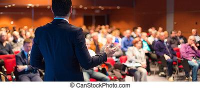 mówiący, na, handlowa konferencja, i, presentation.