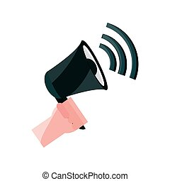 mówiący, płaski, online, działalność, handel, reklama, styl, ikona, ręka