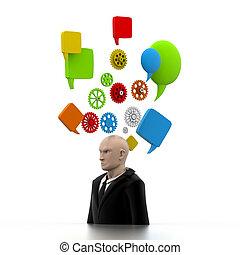 mózg, człowiek, handlowy, postęp
