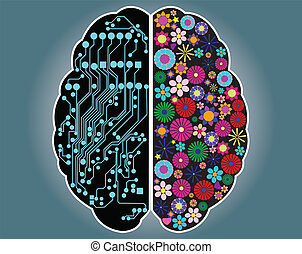 mózg, dobry, bok, lewa strona