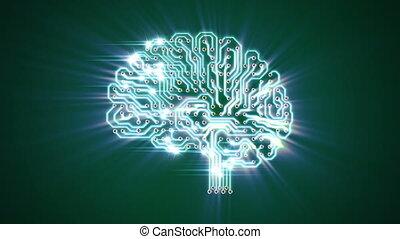 mózg, elektronowy, tętniący, promień