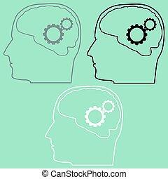 mózg, głowa, mechanizmy, icon.
