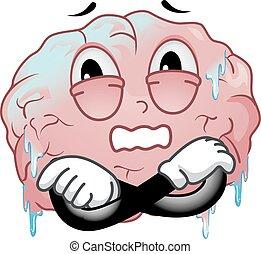 mózg, marznąć, ilustracja, maskotka