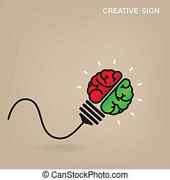 mózg, pojęcie, idea, tło, twórczy