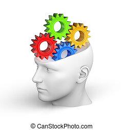 mózg, pojęcie, ludzki, twórczy
