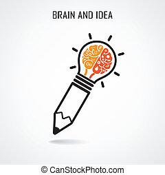 mózg, twórczy, znak, ołówek