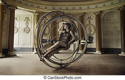 möblemang, framtid, dam, sensuell, sittande