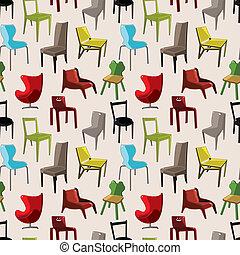 möblemang, mönster, stol, seamless