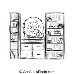 möblemang, skåp, kök, shelves.