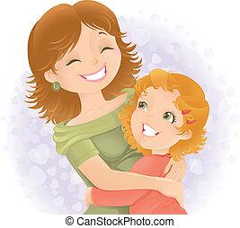 mödrar dag, hälsning, illustration.