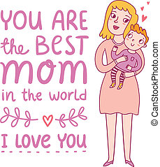mödrar dag, illustration, hälsning