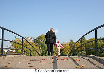 mögött, nagyanya, és, csecsemő, képben látható, ősz, bridzs