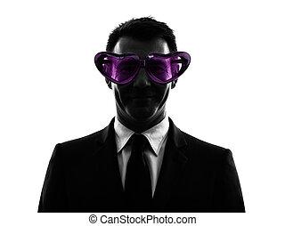 mögen, kaufleuten zürich, mit, lustige brille, silhouette