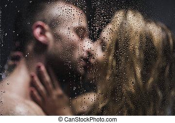 mögen, sie, küssende , niemand