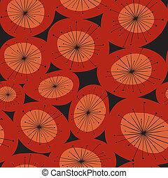 mönster, abstrakt, blomma, röd