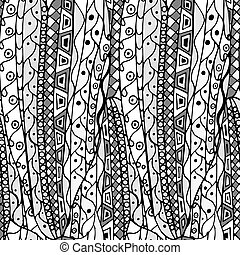 mönster, abstrakt, hand-drawn