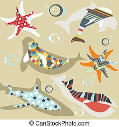 mönster, abstrakt, naturlig, djur