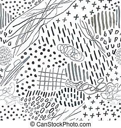 mönster, abstrakt, seamless, blyertspenna, oavgjord, doodles...