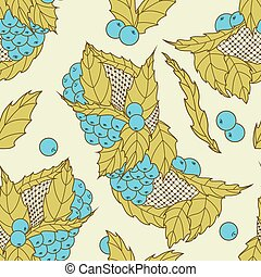 mönster, abstrakt, seamless, hand, oavgjord, bär, bladen