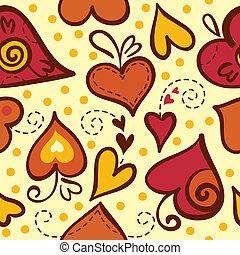 mönster, abstrakt, seamless, hjärtan