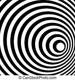 mönster, abstrakt, spiral, bakgrund., svart, vita ring