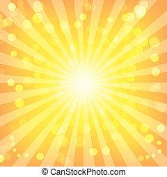mönster, abstrakt, sunburst, bokeh, lyse