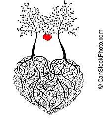 mönster, abstrakt, -, två, träd