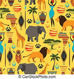 mönster, afrikansk, seamless, icons., stylized, etnisk