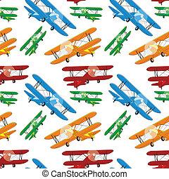 mönster, airplan, färgad, seamless