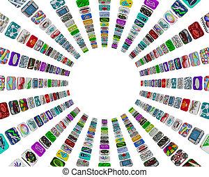 mönster, app, -, knäppas, bakgrund, vit, cirkulär