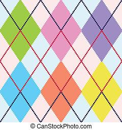 mönster, argyle, vektor, färgrik