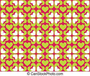 mönster, avbild, -, seamless, vektor, hjärtan