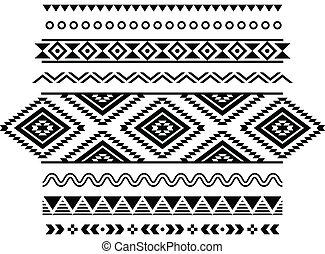 mönster, aztekisk, seamless, stam
