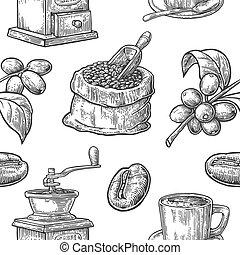 mönster, böna, branch., seamless, kaffe