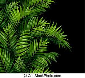 mönster, bakgrund., bladen, svart, palm, seamless, tropisk, gräns