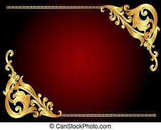 mönster, bakgrund, gold(en), ram, kantig