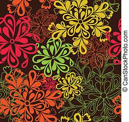 mönster, bakgrund., vektor, blomma, seamless