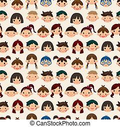 mönster, barn, seamless, ansikte
