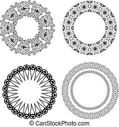 mönster, barock, runda