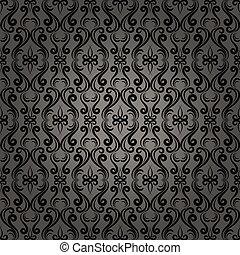 mönster, barock, seamless, bakgrund, damast