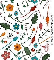 mönster, bladen, bär, blomningen, seamless