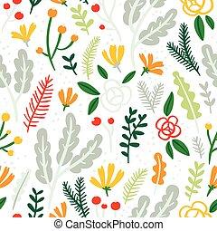 mönster, bladen, seamless, blomningen, bakgrund, vit, bär