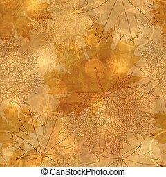 mönster, bladen, -, seamless, illustration, höstlig, vektor