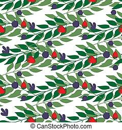 mönster, bladen, seamless, vild, herbal, bär