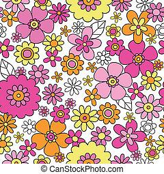 mönster, blomma, seamless, driva