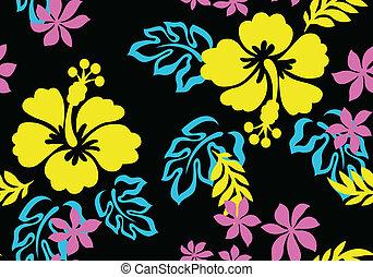 mönster, blomma, seamless, tyg